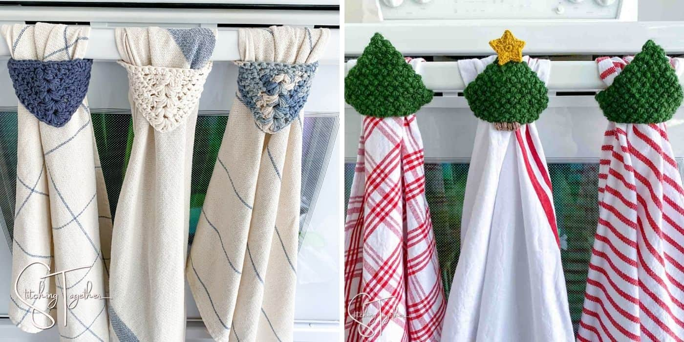two different types of crochet towel toppers hanging on an oven