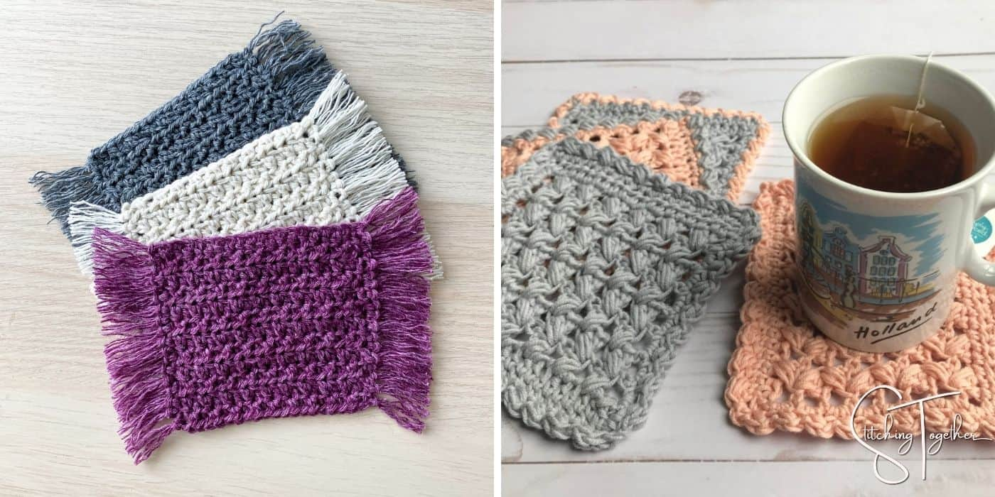 crochet coasters with fringe and square coasters with a cuppa