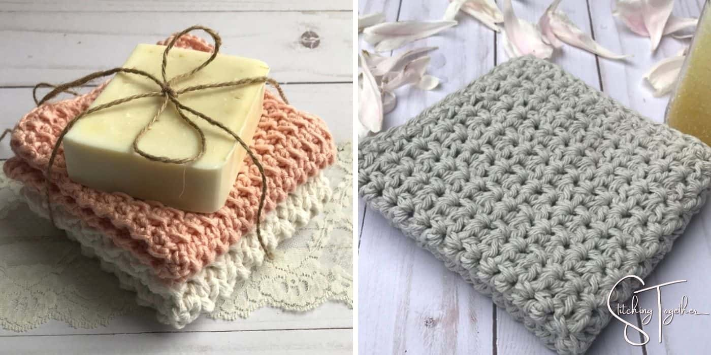 two different types of crochet washcloths folded
