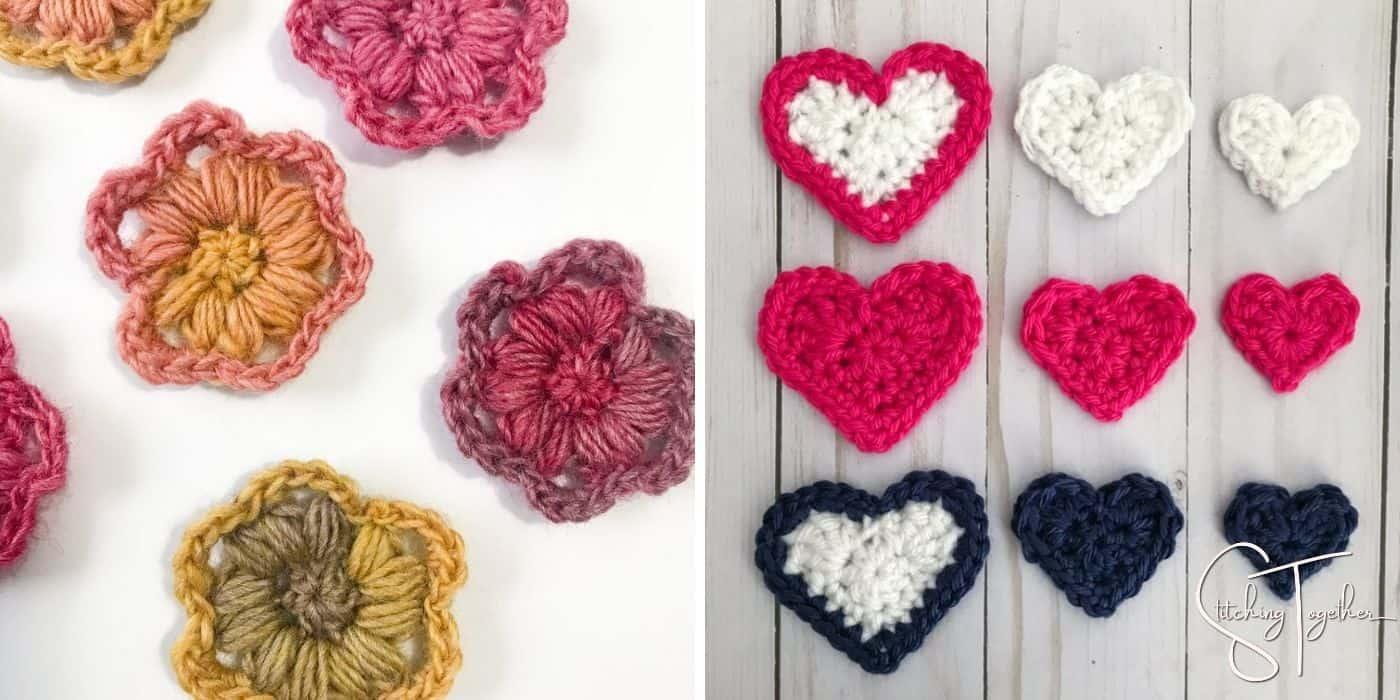 crochet flowers and crochet hearts