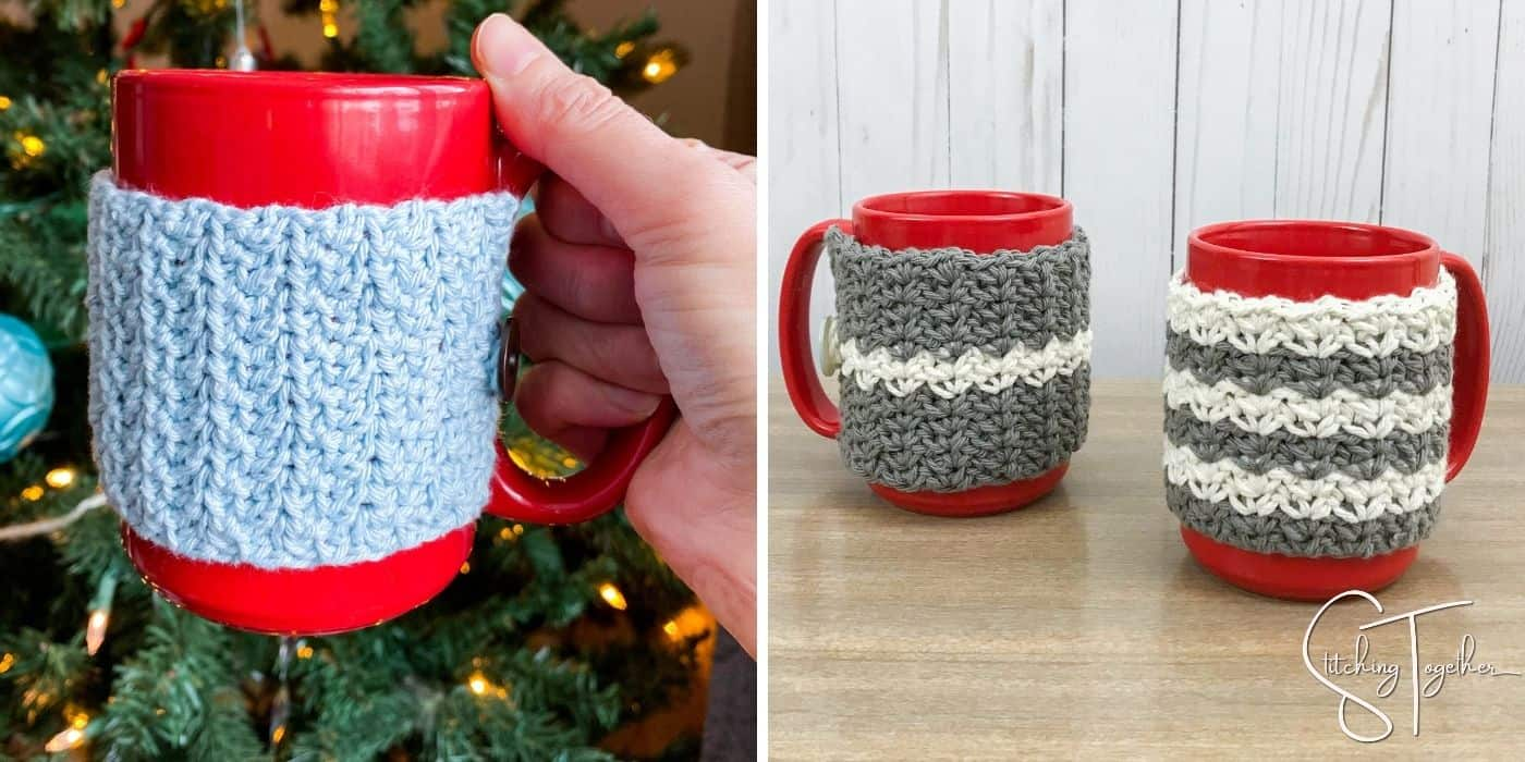 two picture of a red mug with two different types of crochet cozies on it.