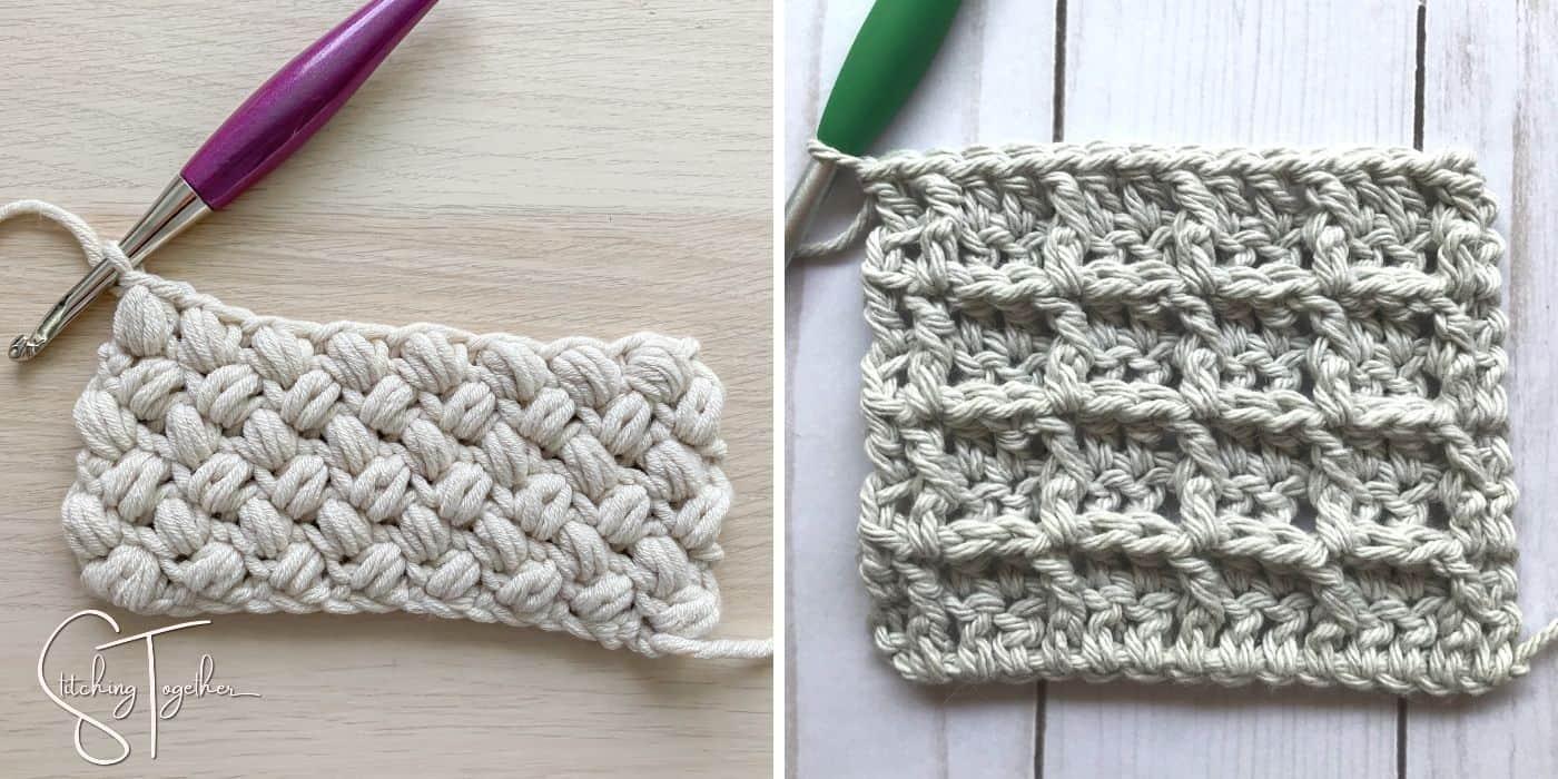 bean stitch crochet swatch and waffle stitch crochet swatch