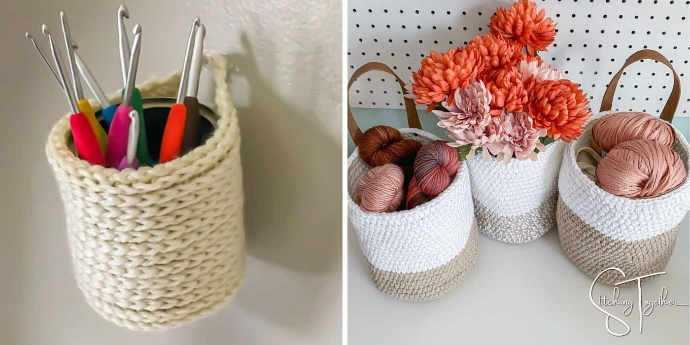 small and larger crochet hanging baskets