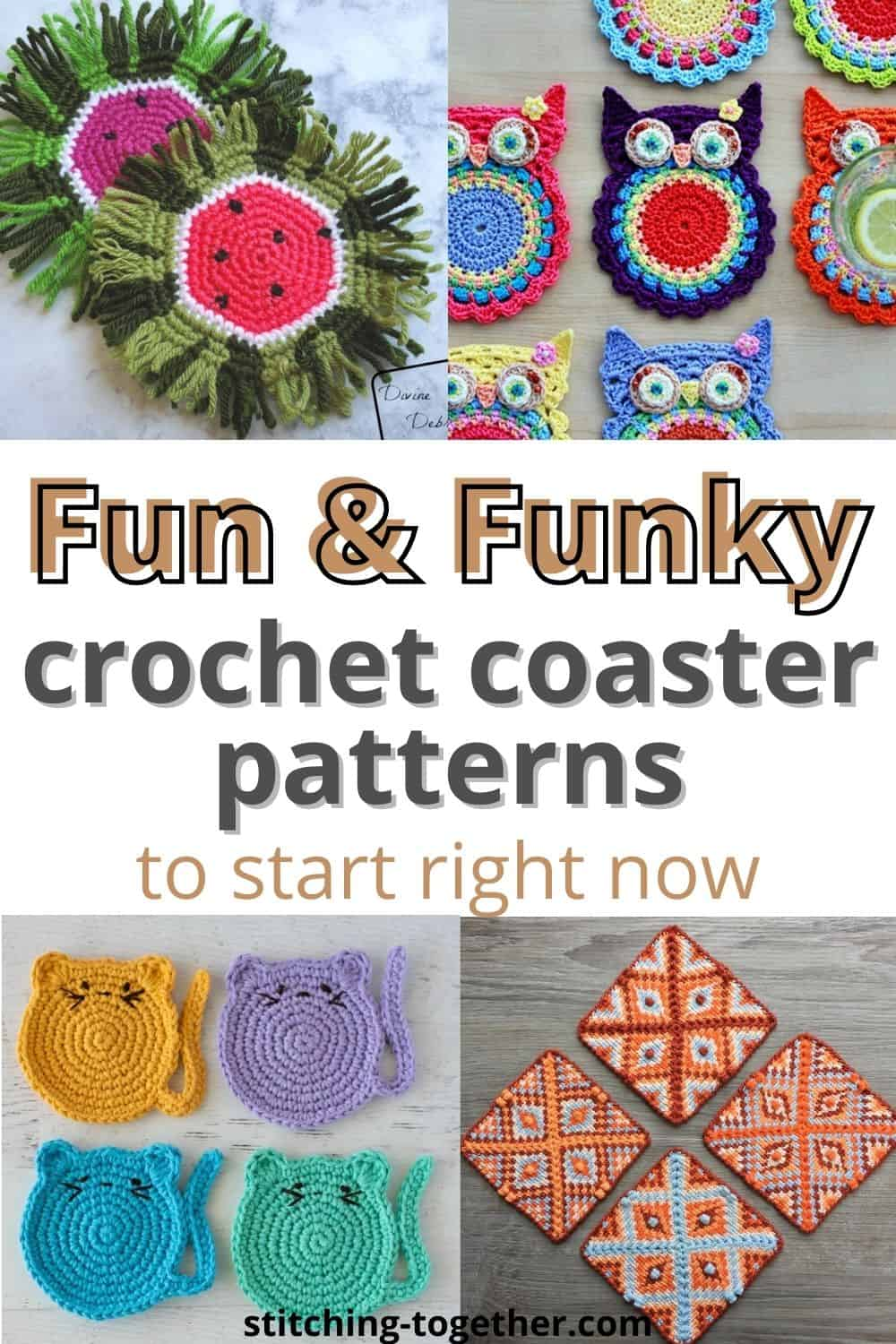 collage of funky crochet coasters pin image