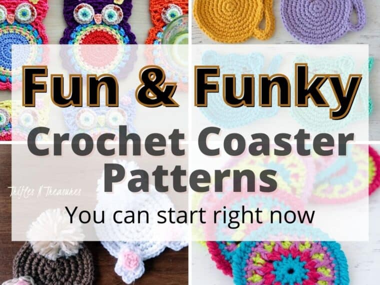 collage of funky crochet coasters
