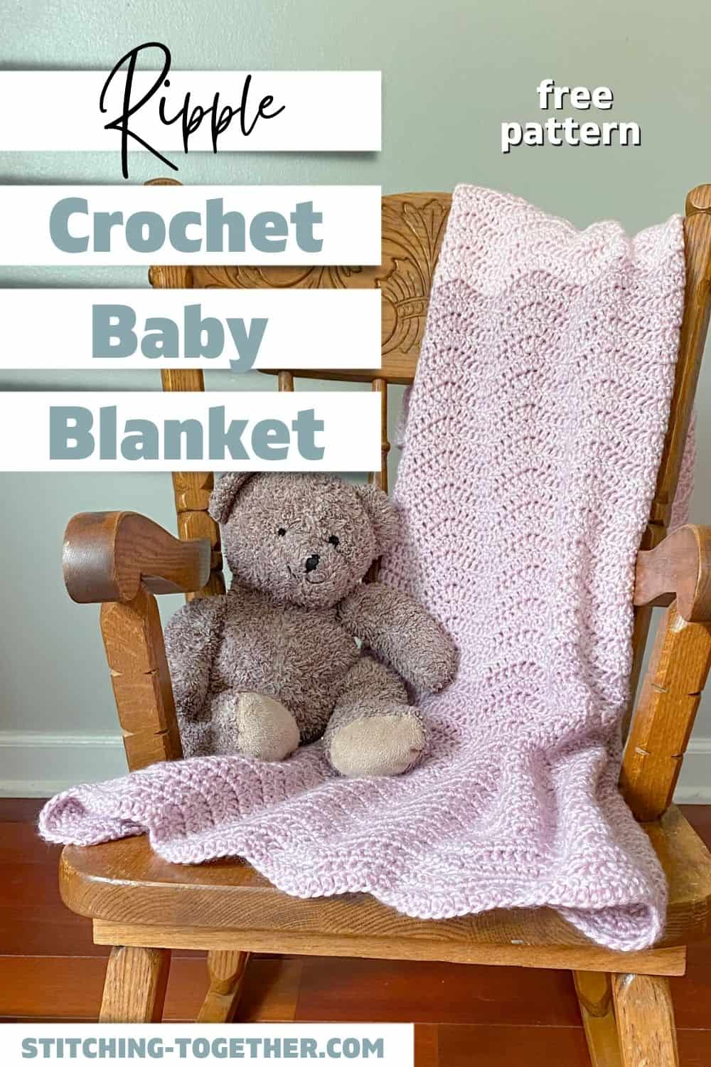 pin of ripple baby afghan on a chair with a stuffed bear
