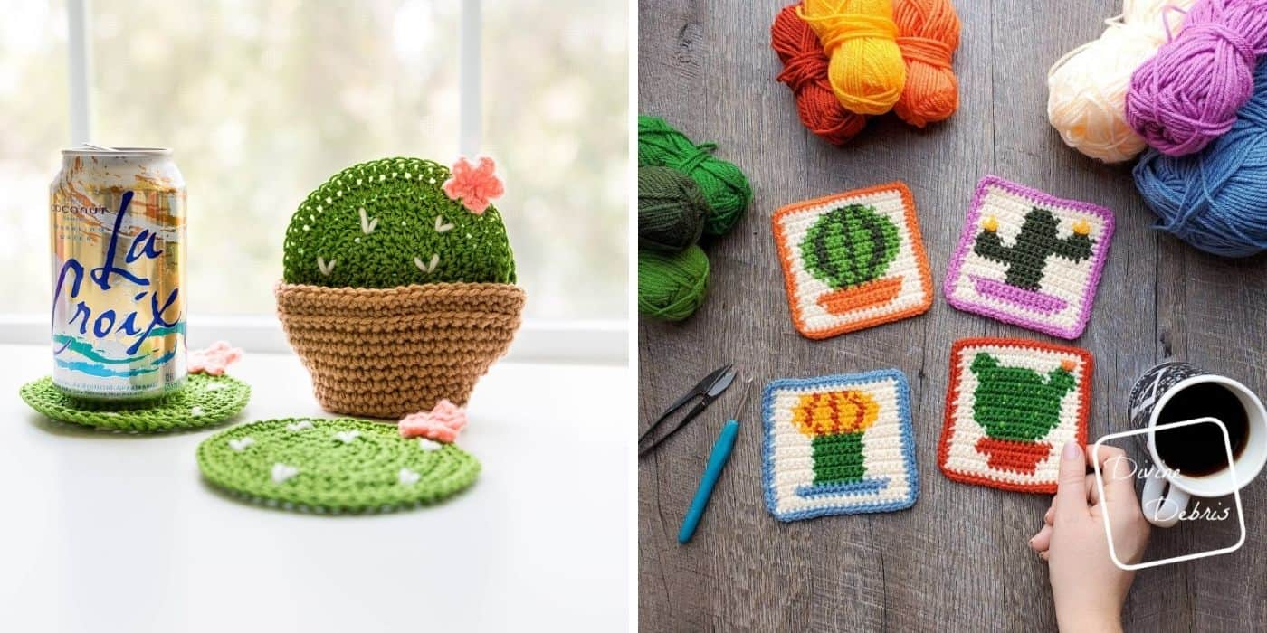 two different types of crochet catcus coasters