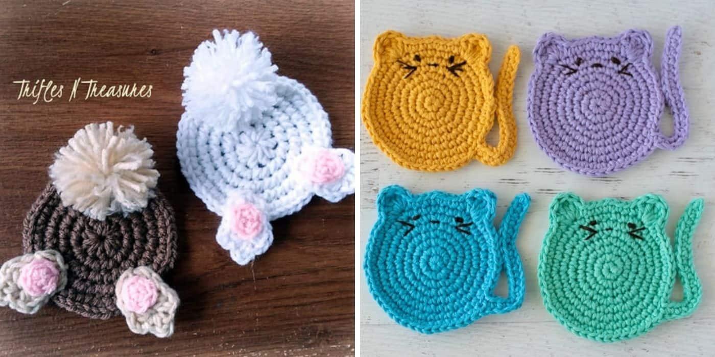 crochet bunny and crochet cat coasters