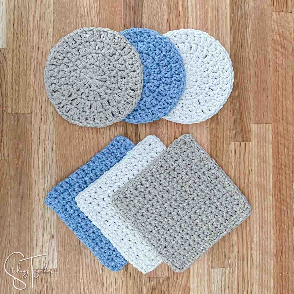 3 square and 3 round crochet coasters laying flat