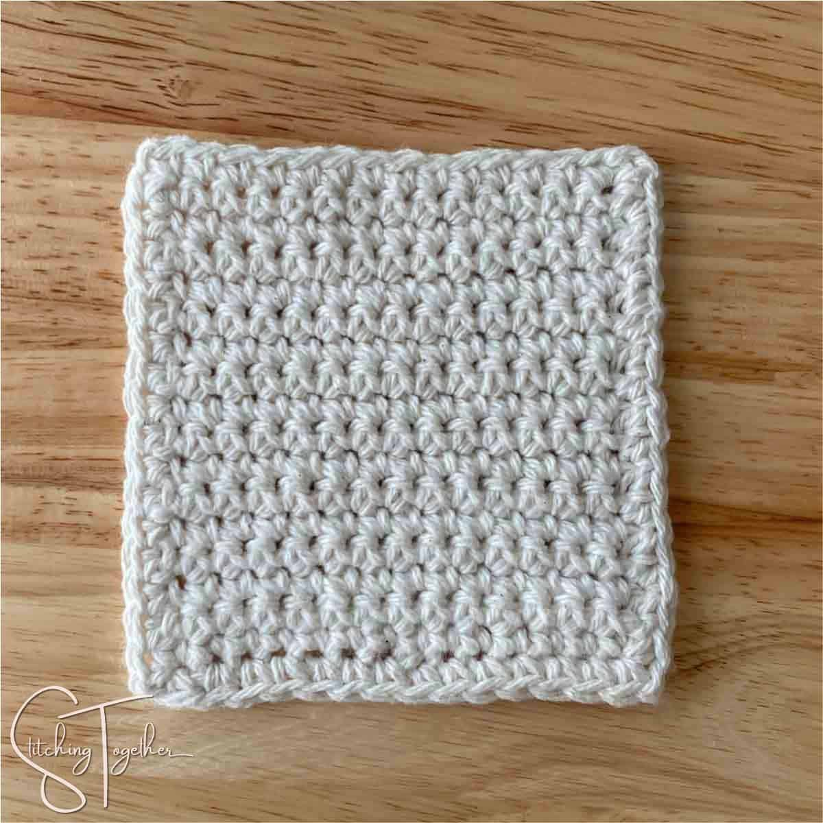 completed easy square crochet coaster