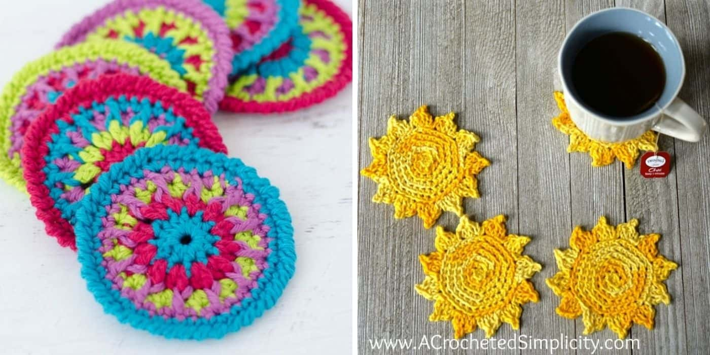 colorful crochet coaster and sunflower coaster