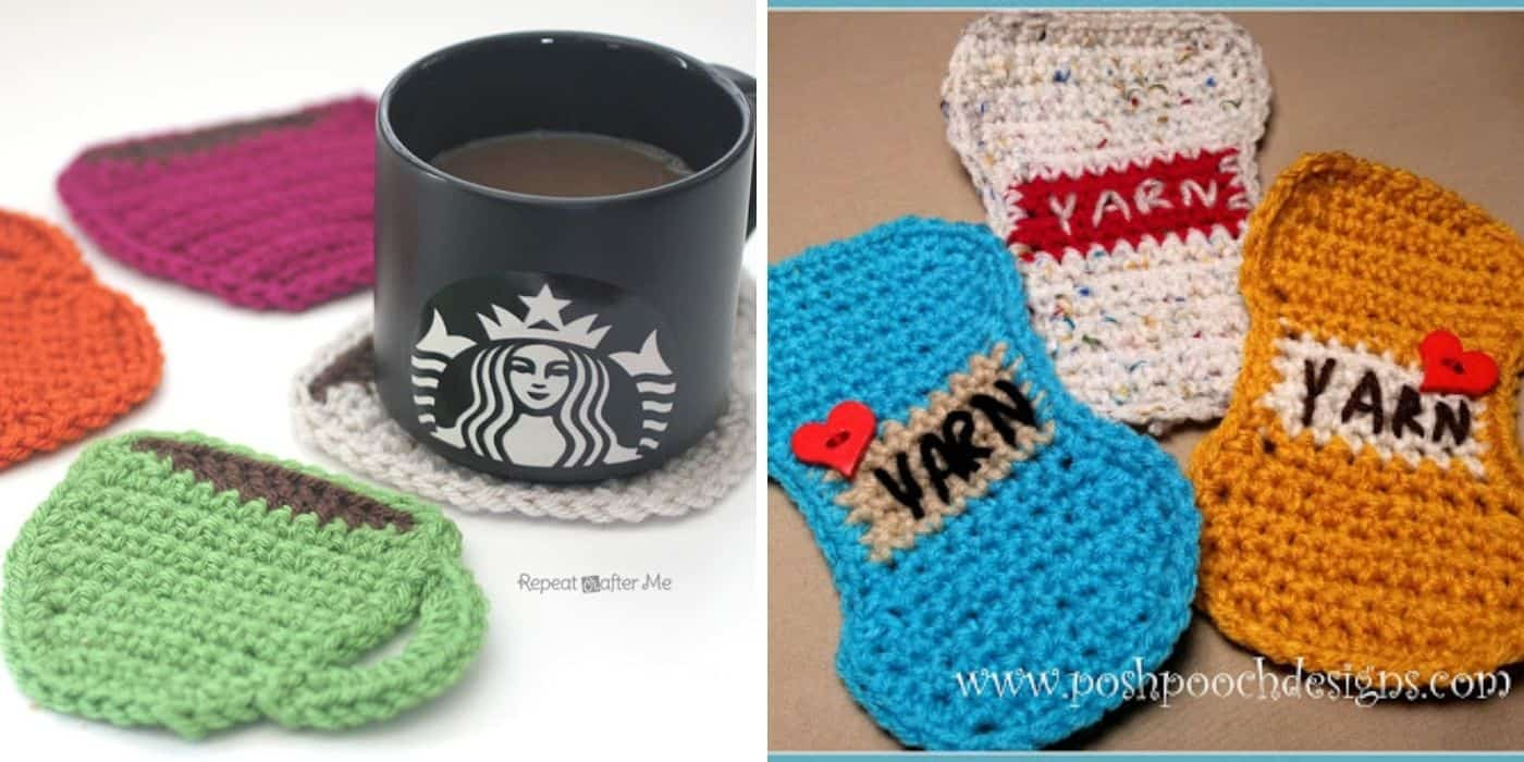 mug and yarn crocheted coasters