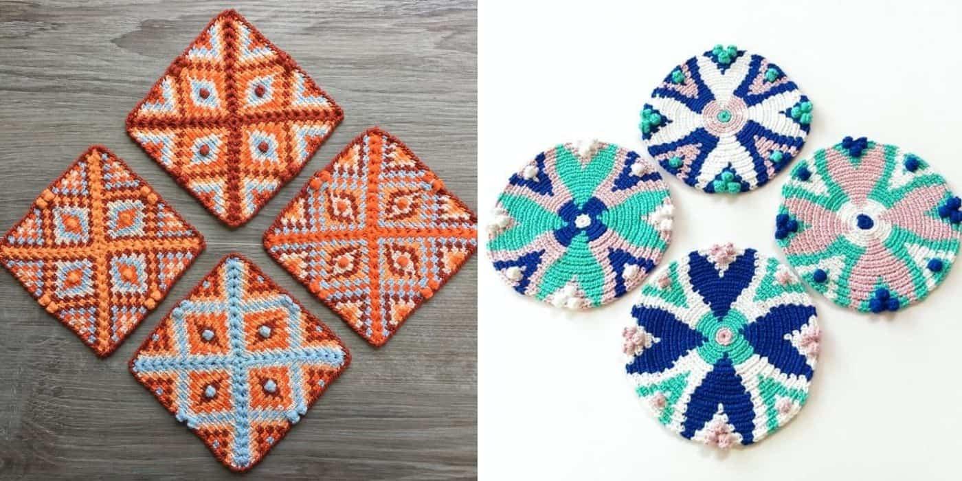 mosaic tapestry crochet coasters