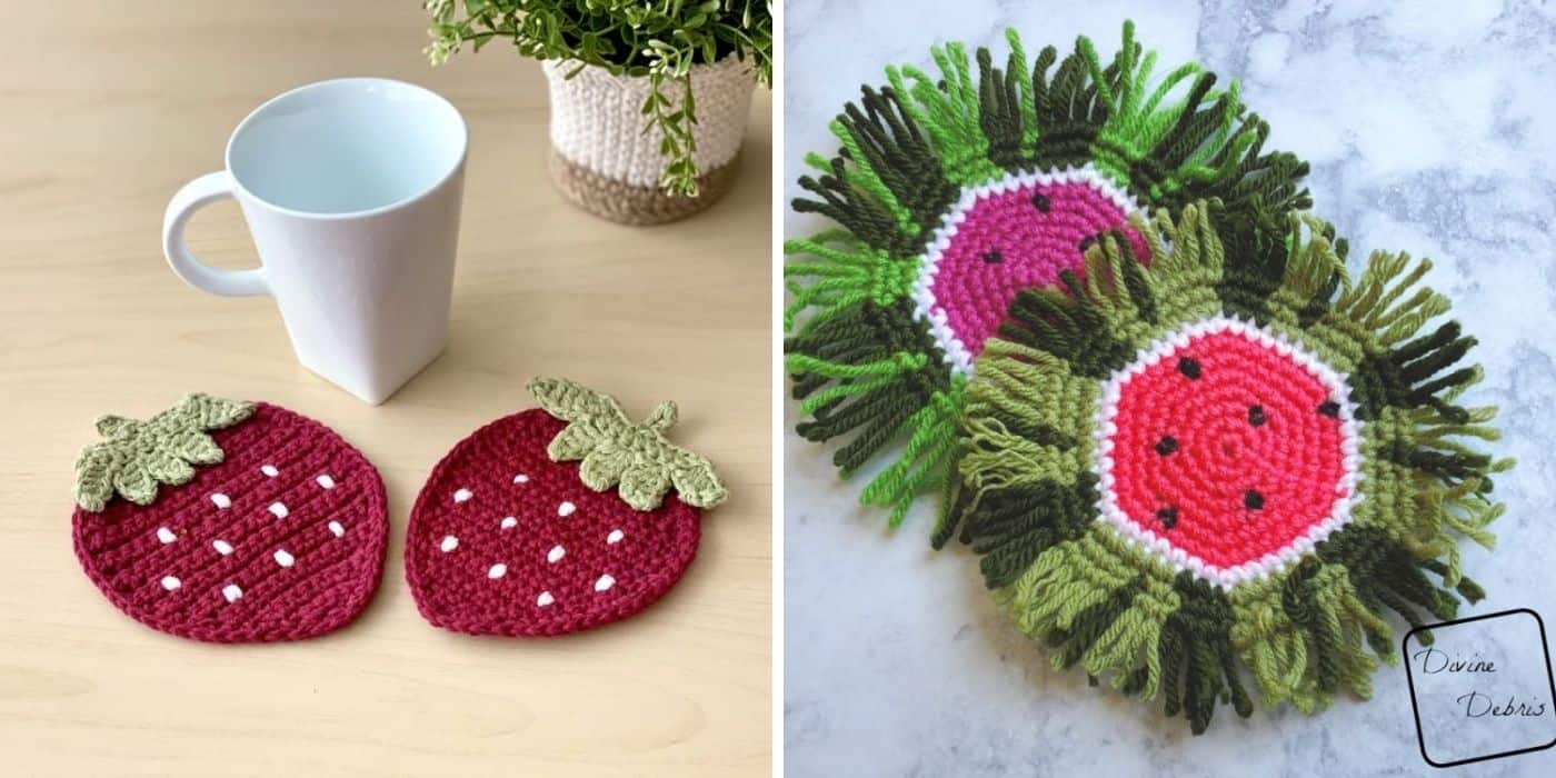 strawberry and watermelon coasters