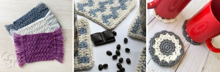 3 different types of crochet coasters