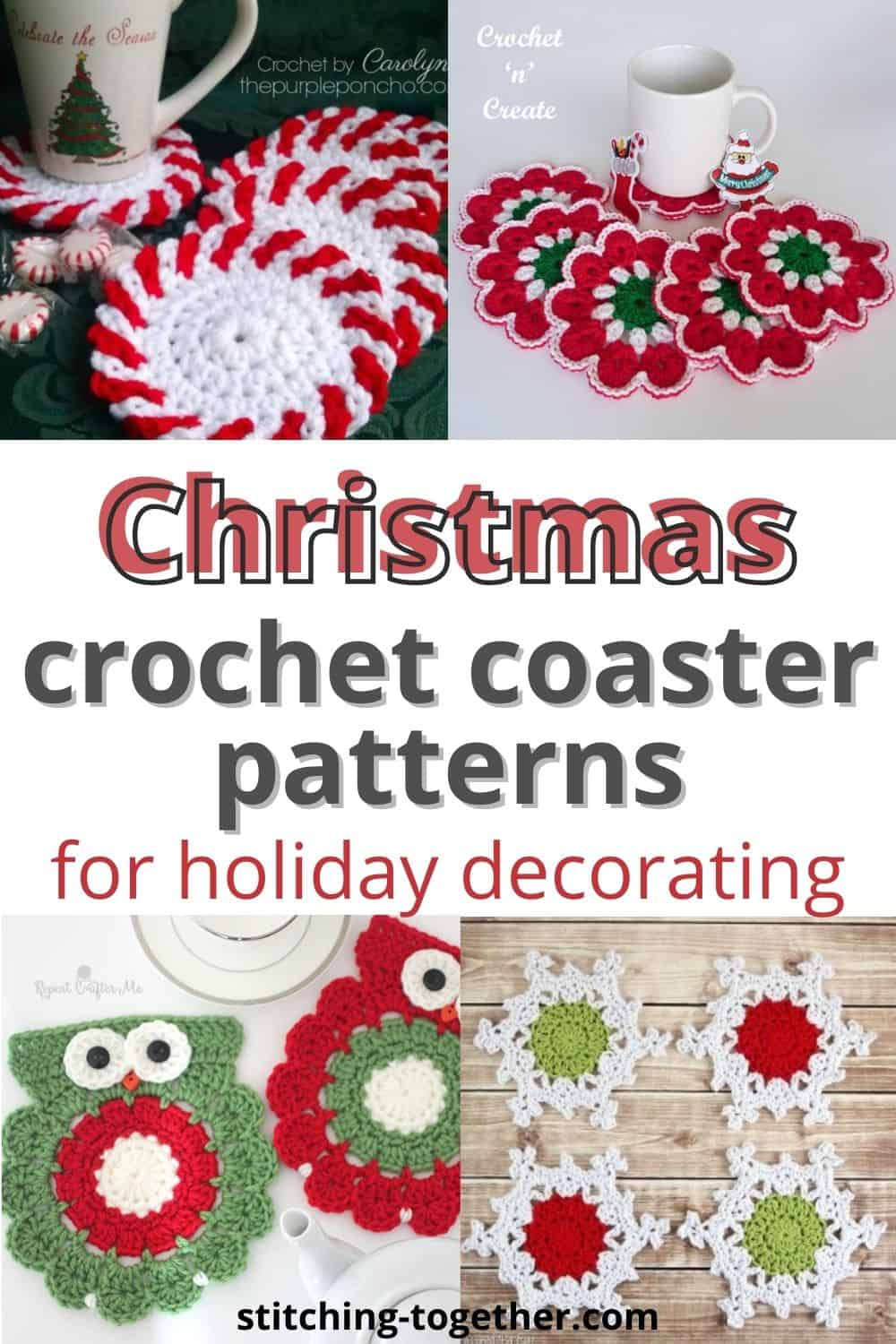 collage of Christmas crochet coasters with text
