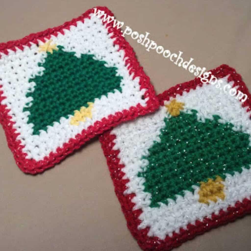 Christmas tree coaster crochet