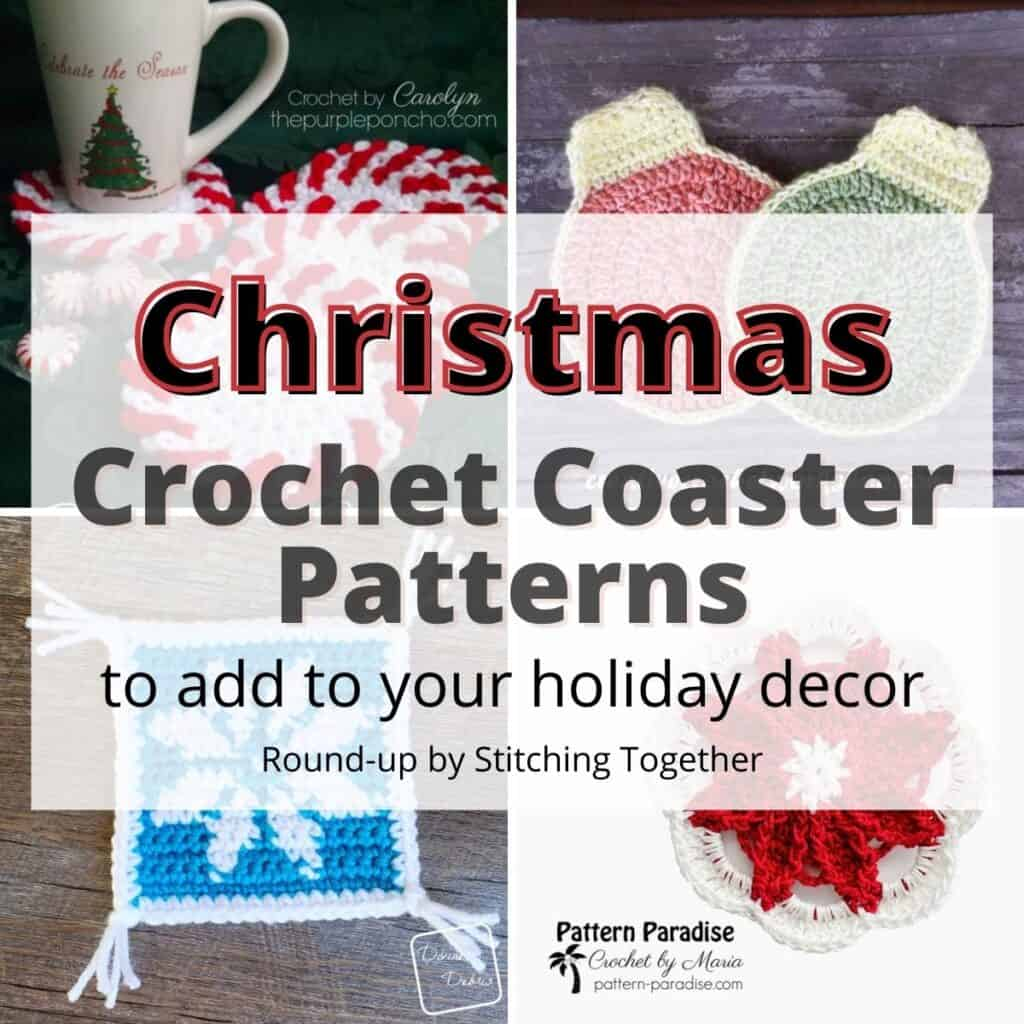 collage of crochet christmas coasters with text