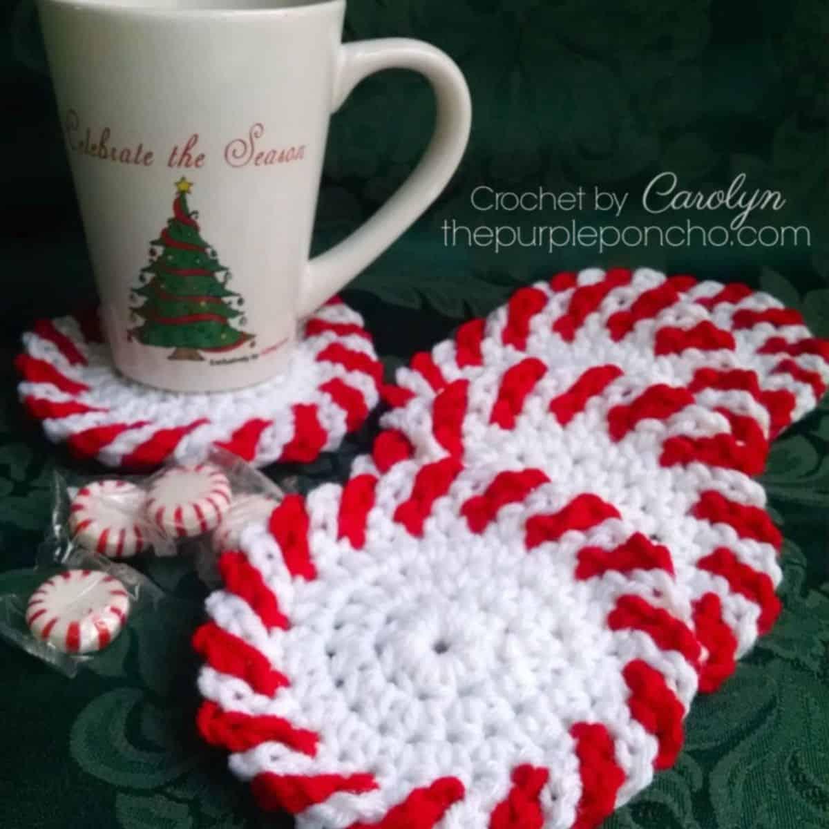 peppermints, a mug, and crochet peppermint coasters