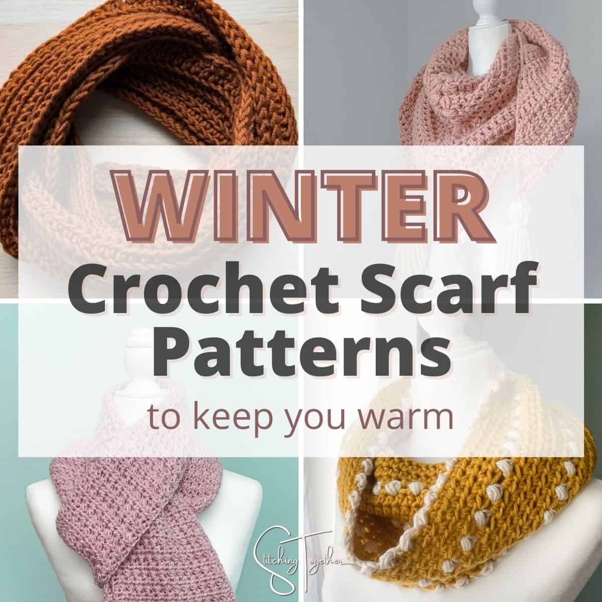 collage of crochet winter scarves
