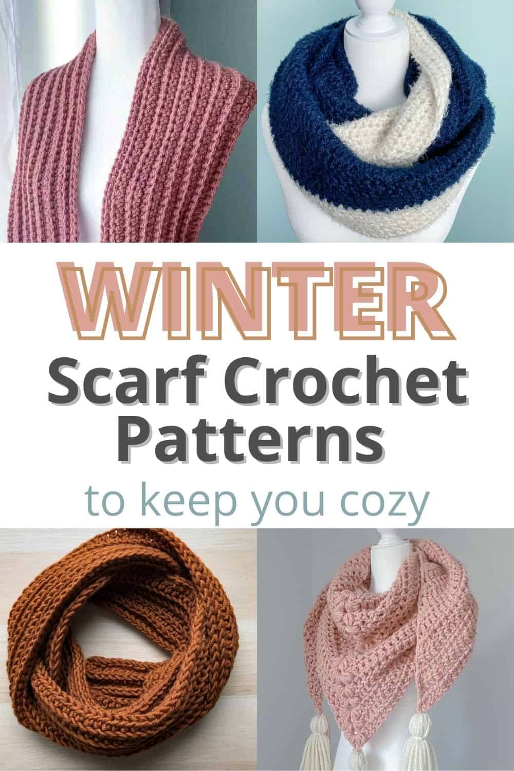 pin collage of winter crochet scarves