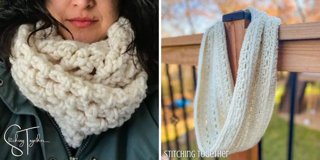 2 white crochet scarves with open stitch work