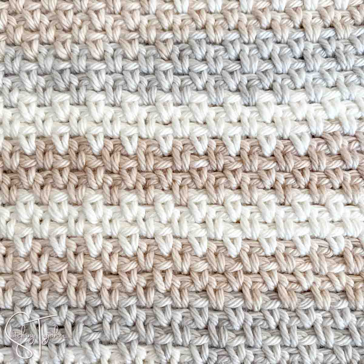close up of the crochet moss stitch