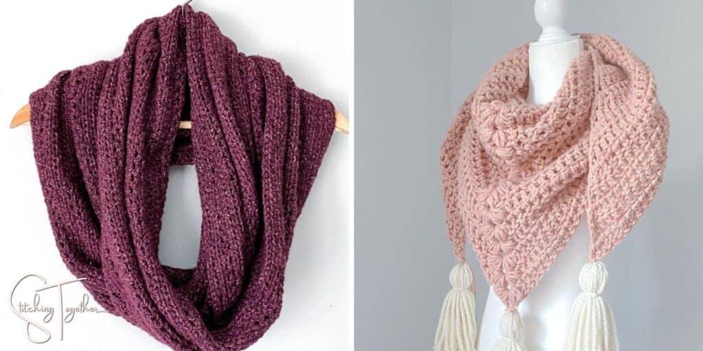 an oversized crochet scarf and a chunk crochet shawl