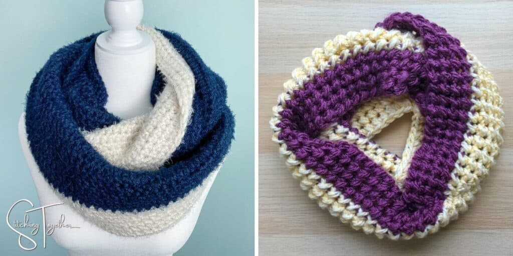 2 color blocked infinity scarves