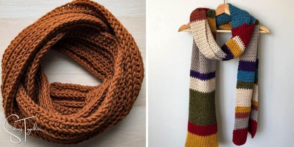 an easy crochet mens scarf and a large multcolored scarf