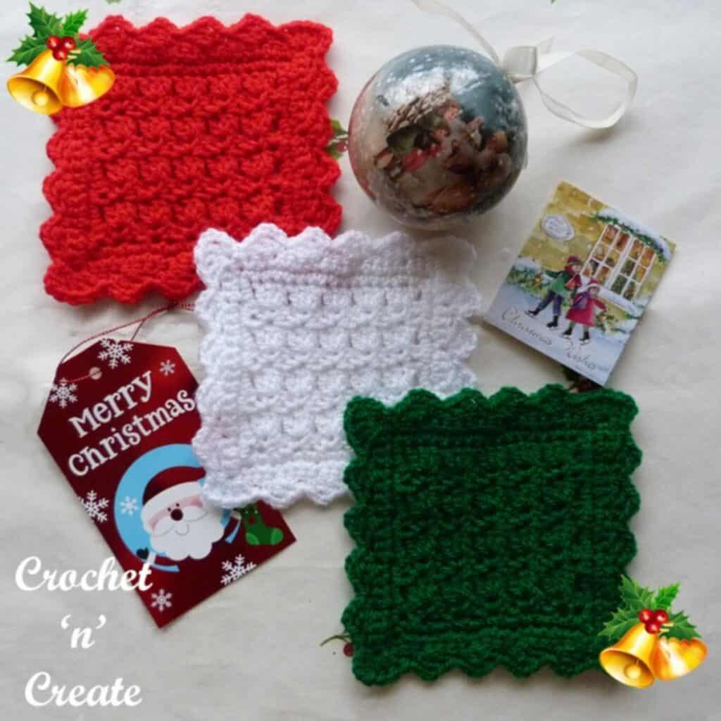 crochet square christmas coasters