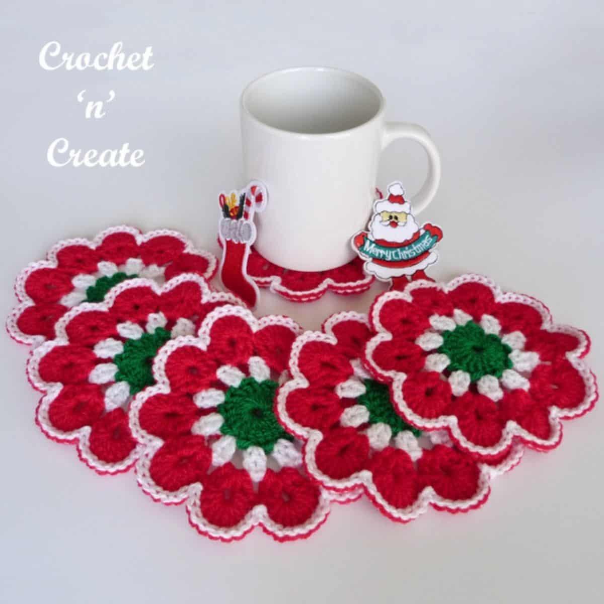 crochet round flower coasters