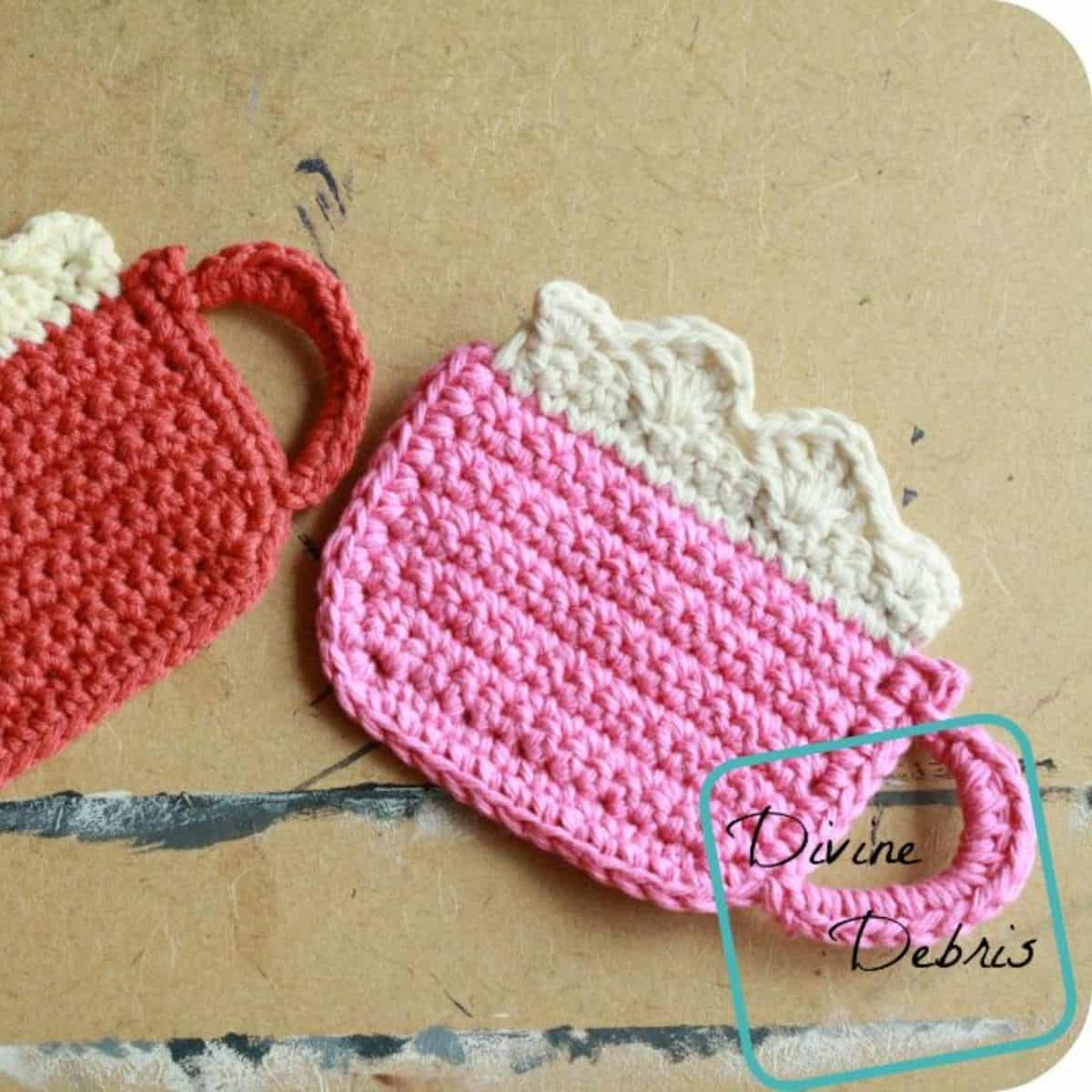 coffee mug shaped crochet coasters