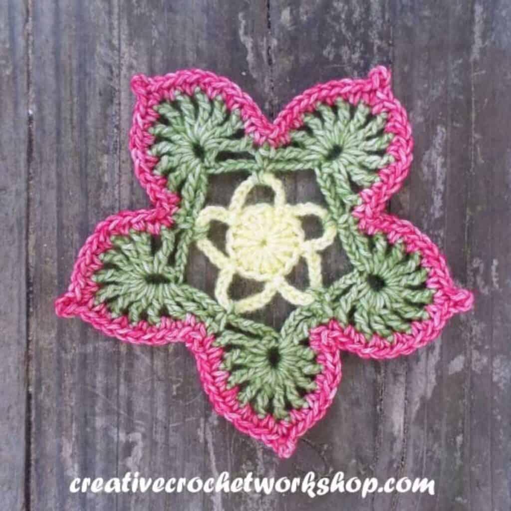 lacy flowery crochet coaster