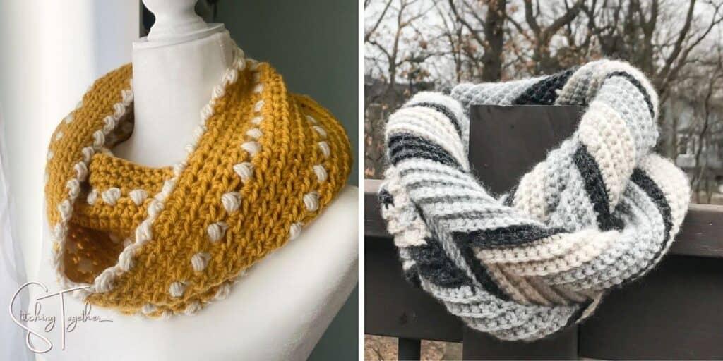 yellow crochet cowl and gray toned chevron scarf
