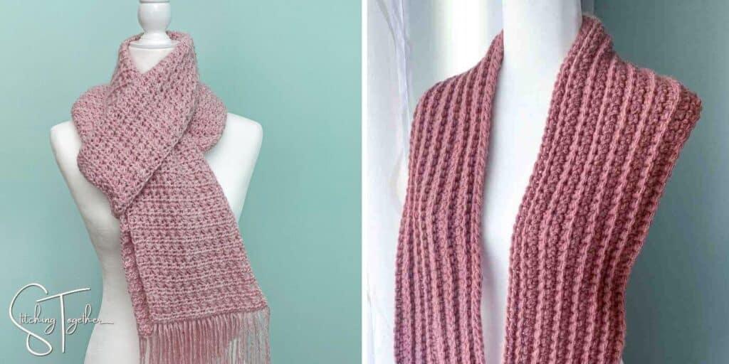 pink warm winter crochet scarves