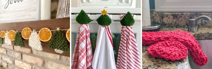 crochet christmas tree ornaments, crochet towel toppers, and dishcloth set