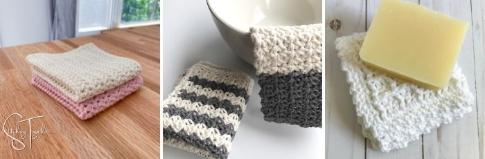 collage image of crochet dishcloths