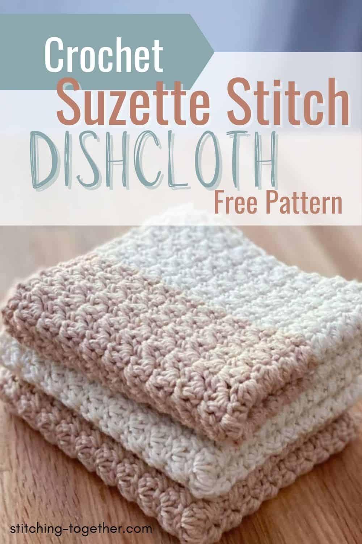 pin of 3 crochet suzette stitch dishcloths