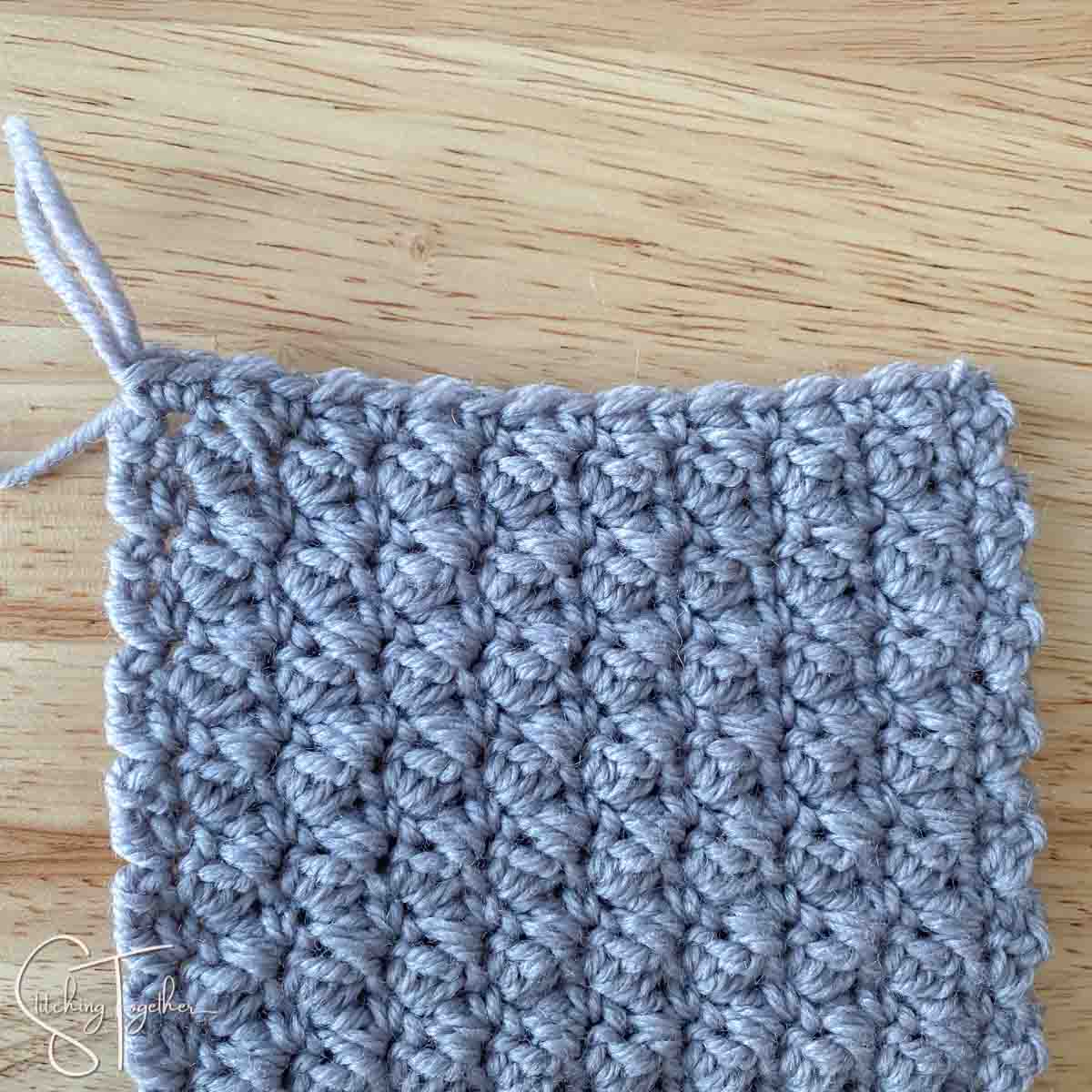 finished swatch of the suzette stitch