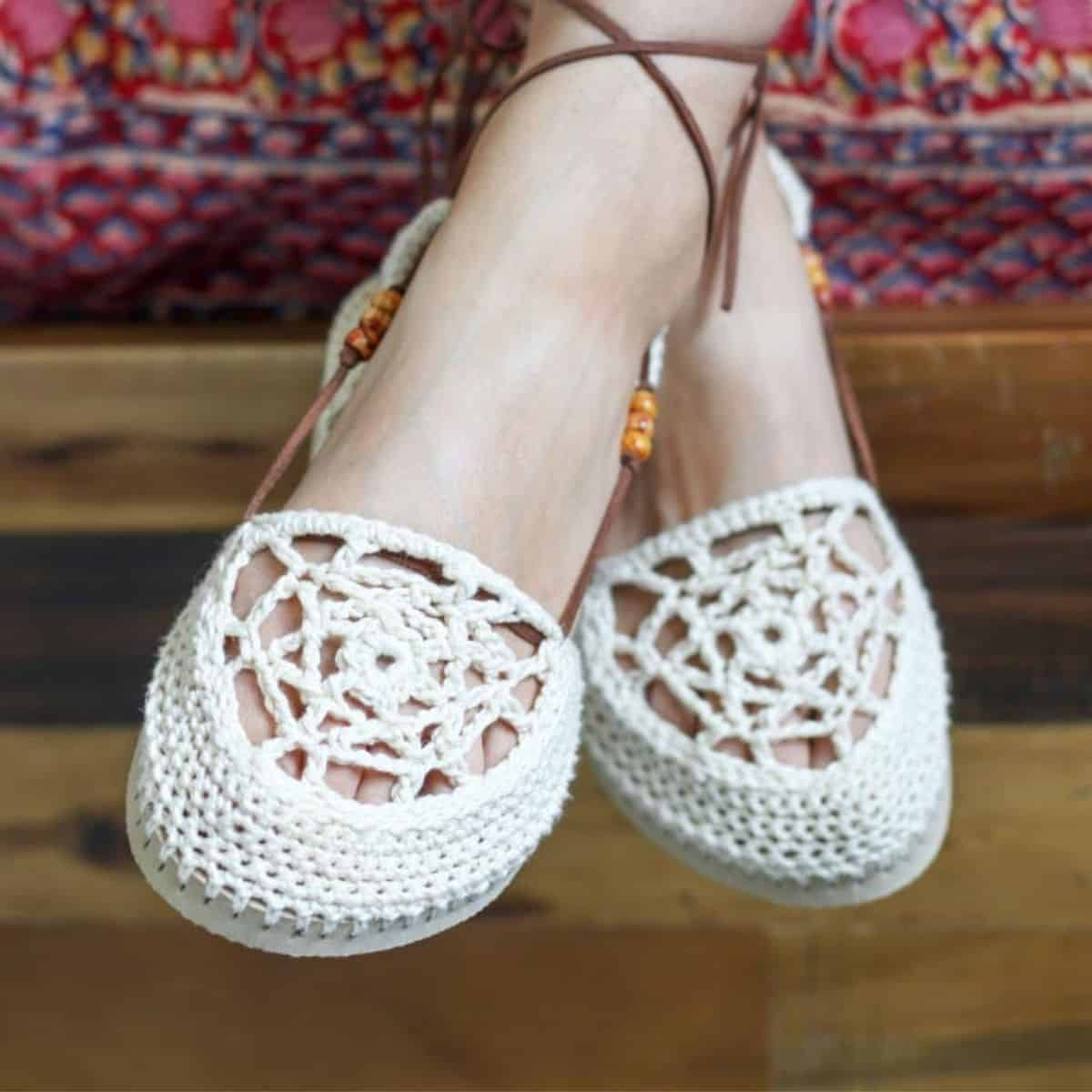 lacy cotton crochet shoes on feet