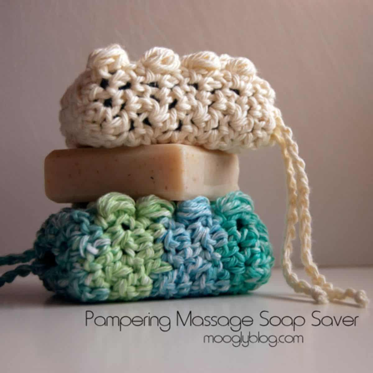 crochet soap savers stacked with a bar of soap between them